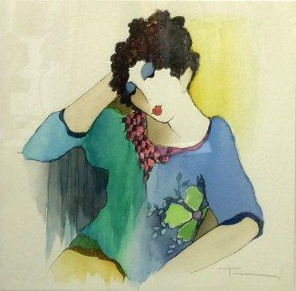 Sitting Alone Watercolor 18x18 Watercolor by Itzchak Tarkay