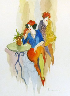 Untitled Watercolor 28x25 Watercolor - Itzchak Tarkay