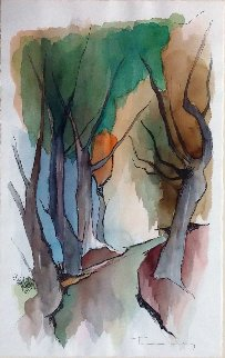 Autumn Watercolor 22x14 Watercolor by Itzchak Tarkay