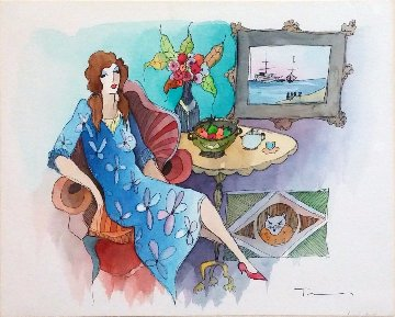 Blue Dress Watercolor  16x20 Watercolor - Itzchak Tarkay