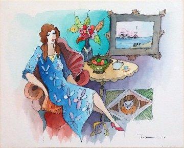 Blue Dress Watercolor  16x20 Watercolor by Itzchak Tarkay