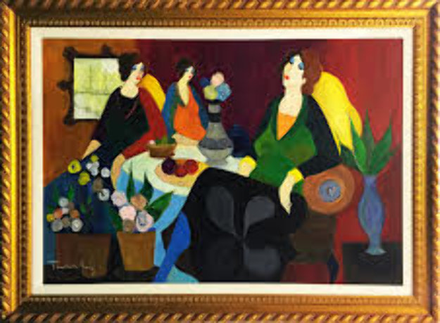 Afternoon Chat 2007 34x51 Original Painting by Itzchak Tarkay