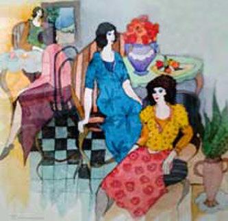 Annie's Luncheon #25 24x24 Unique Watercolor - Itzchak Tarkay