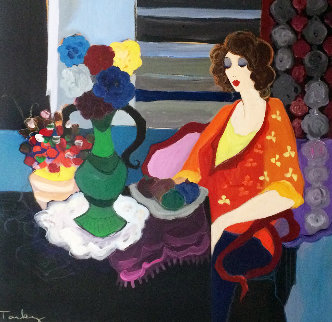 Feelings 1990 51x51 Huge Original Painting - Itzchak Tarkay