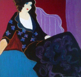 Chambre Violett 1980 Embellished Limited Edition Print by Itzchak Tarkay