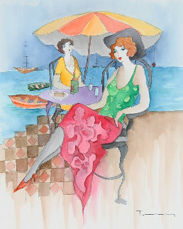 Relaxation At the Beach Watercolor  39x34 Watercolor - Itzchak Tarkay