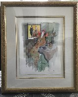 Sydel At Tea #5 Watercolor 2001 28x24 Watercolor by Itzchak Tarkay - 1