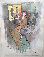 Sydel At Tea #5 Watercolor 2001 28x24 Watercolor by Itzchak Tarkay - 3