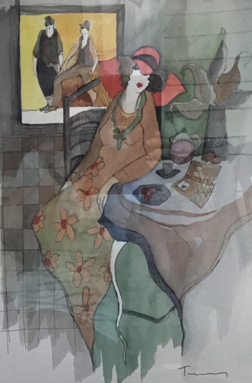Sydel At Tea #5 Watercolor 2001 28x24 by Itzchak Tarkay