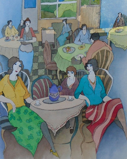 Dinner At the Club #10 Watercolor 33x29 Watercolor by Itzchak Tarkay