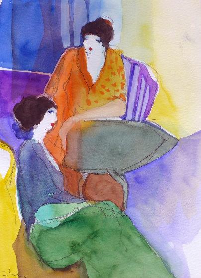 Untitled Watercolor  1990  20x23 Watercolor by Itzchak Tarkay
