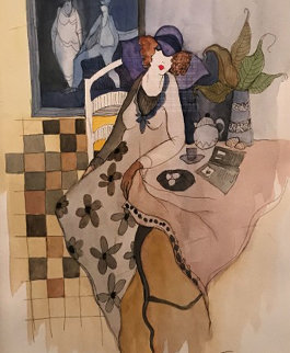 Sydel At Tea #2 Watercolor 21x24 Watercolor - Itzchak Tarkay