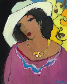Women in a White Hat 1990 23x27 Original Painting by Itzchak Tarkay