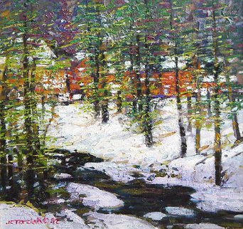 Winter White 1989 24x24 Original Painting - John Terelak