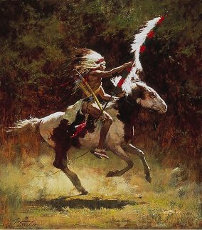 Sioux Flag Carrier 1980 Limited Edition Print - Howard Terpning