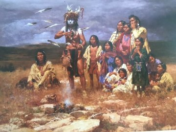 Shaman And His Magic Feathers 2006 Limited Edition Print - Howard Terpning