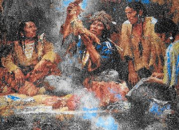 Opening the Sacred Bundle 1995 Limited Edition Print by Howard Terpning