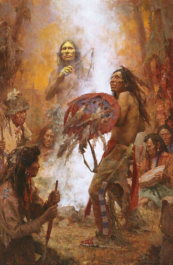Transferring the Medicine Shield  AP Limited Edition Print by Howard Terpning