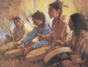 Four Sacred Drummers 1991 Limited Edition Print by Howard Terpning