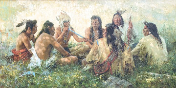 Crow Pipe Ceremony 1997 Limited Edition Print - Howard Terpning