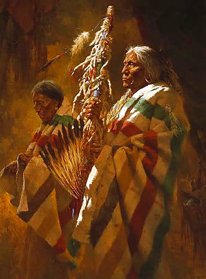 Thunder Pipe and the Holy Man 1986 Limited Edition Print by Howard Terpning