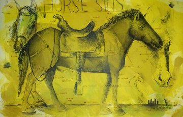 Horse Sins (Ol Blueless)  Embellished 1992 Limited Edition Print - Terry Allen
