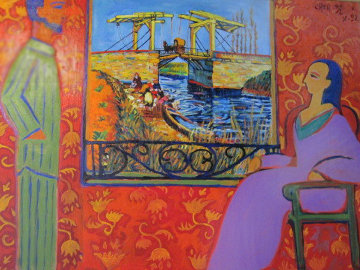 Happy Holidays, Vacation in Arles, France 1992 30x40 Original Painting by Dr. T.F. Chen