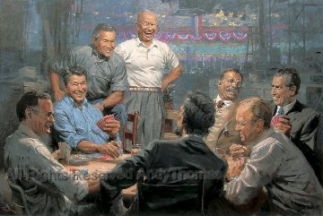 Grand Ol' Gang  Republican Presidents Playing Poker 2008 Limited Edition Print - Andy  Thomas