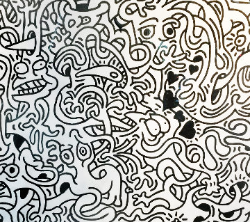 Live Fluidtoons With Black Hearts 2016 62x74 Works on Paper (not prints) - Bob Thompson