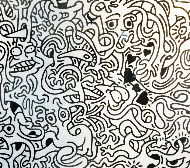 Live Fluidtoons With Black Hearts 2016 62x74 Works on Paper (not prints) by Bob Thompson