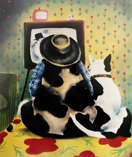 Watching With Butch 1999 Embellished Limited Edition Print - Mackenzie Thorpe