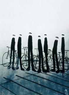 Men With Bikes 2002 Huge Limited Edition Print - Mackenzie Thorpe