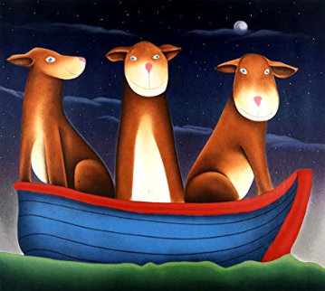 Three Dogs in a Boat 1999 Limited Edition Print - Mackenzie Thorpe