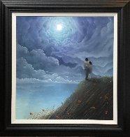 Love Across the Ocean Pastel 2019 35x35 Works on Paper (not prints) by Mackenzie Thorpe - 1