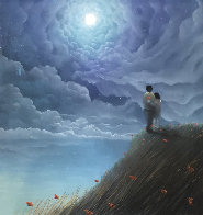 Love Across the Ocean Pastel 2019 35x35 Works on Paper (not prints) by Mackenzie Thorpe - 0