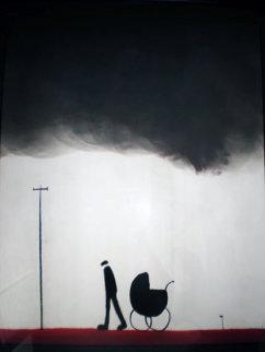 Leaving the Baby Pastel 2000 36x29 Original Painting by Mackenzie Thorpe