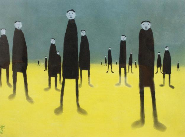 Walking in Custard Pastel 1999 36x43 Original Painting by Mackenzie Thorpe