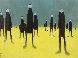 Walking in Custard Pastel 1999 36x43 Original Painting by Mackenzie Thorpe - 0