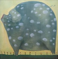 A White Spot Pastel 44x42 Super Huge Works on Paper (not prints) by Mackenzie Thorpe - 2
