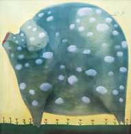 A White Spot Pastel 44x42 Super Huge Works on Paper (not prints) by Mackenzie Thorpe - 0