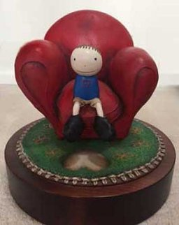 Love Seated Resin Sculpture 2000 9 in Sculpture - Mackenzie Thorpe