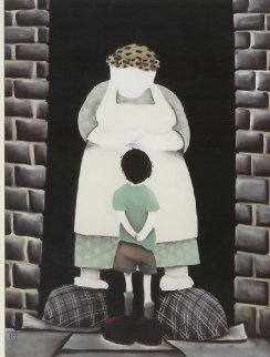 Mrs, Can We Have Our Ball Back? 2003 50x41 Original Painting by Mackenzie Thorpe