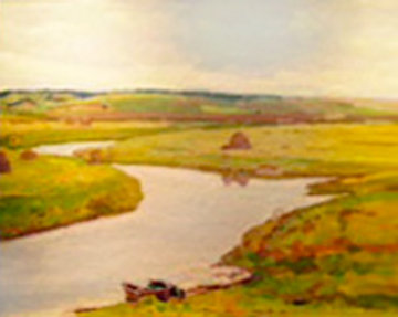 River Sorot 1955 19x23 Original Painting - Nikolai Efimovich Timkov