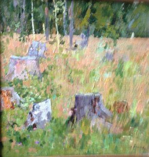 Clearing of the Field 1961 15x15 Original Painting by Nikolai Efimovich Timkov
