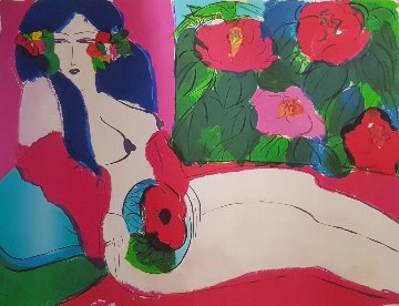 Woman in Blossoms 1983 Limited Edition Print by Walasse Ting