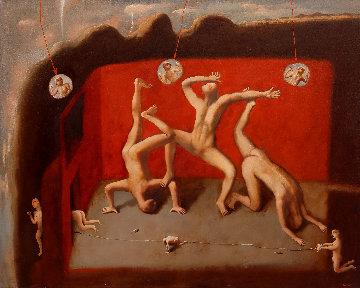 Red Room 2014 47x59  Original Painting - Kim Tkatch