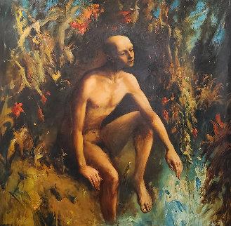 On the River of Jordan  2006 68x68 Huge Original Painting - Kim Tkatch