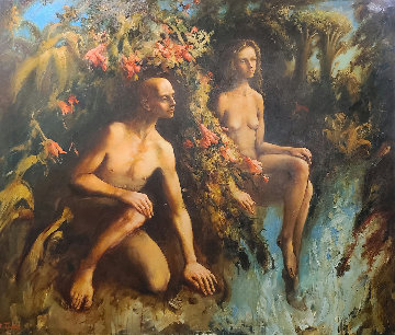 Adam And Eve 2006 68x80 Original Painting - Kim Tkatch