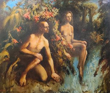 Adam And Eve 2006 68x80 Huge Original Painting - Kim Tkatch
