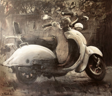 White Vespa 2011 59x66 Original Painting - Kim Tkatch